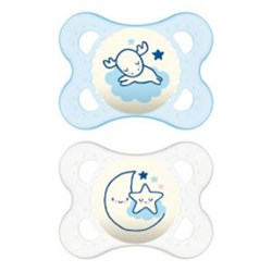 Chupeta MAM Original Night 0-6 meses Azul - Embalagem Dupla