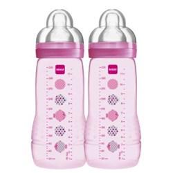 Mamadeira Mam Easy Active 330ml- Embalagem Dupla Rosa